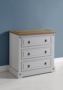 CORONA 3 DRAWER CHEST - GREY