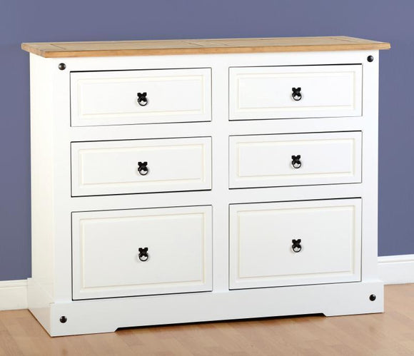 CORONA 6 DRAWER CHEST - WHITE