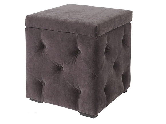 VALENTINA STORAGE BOX - CHARCOAL VELVET