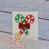 Crossed Candy Canes Applique