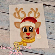 Girl Reindeer with Hat Applique