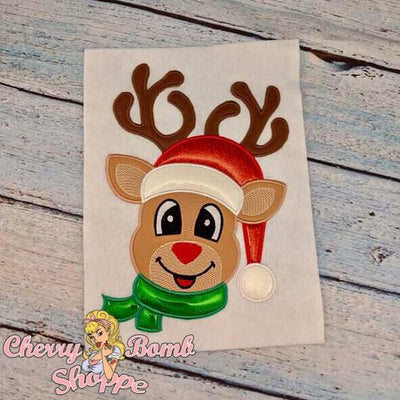 Boy Reindeer with Hat Applique