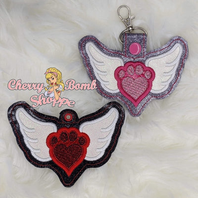 Paw Heart Wings Key Fob and Eyelets