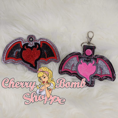 Devil Heart Wings Eyelet & Key Fob