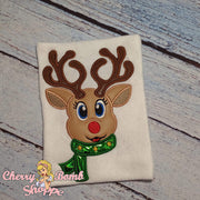 Girl Reindeer with Scarf Applique