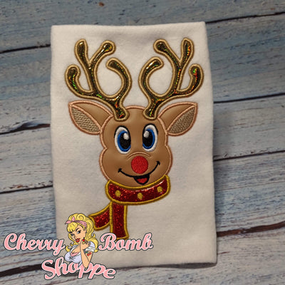 Boy Reindeer with Scarf Applique