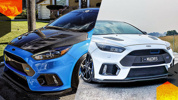 Blue and White Ford MK3 Focus RS modified with Flow Designs lip splitter