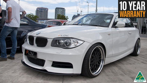 White BMW 1 Series E82 M-Sport with front lip splitter