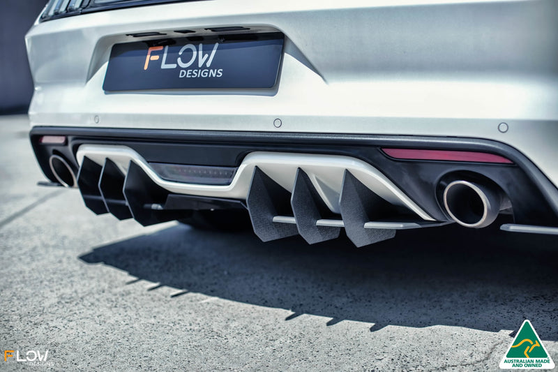 White Ford Mustang S550 FM Rear Diffuser