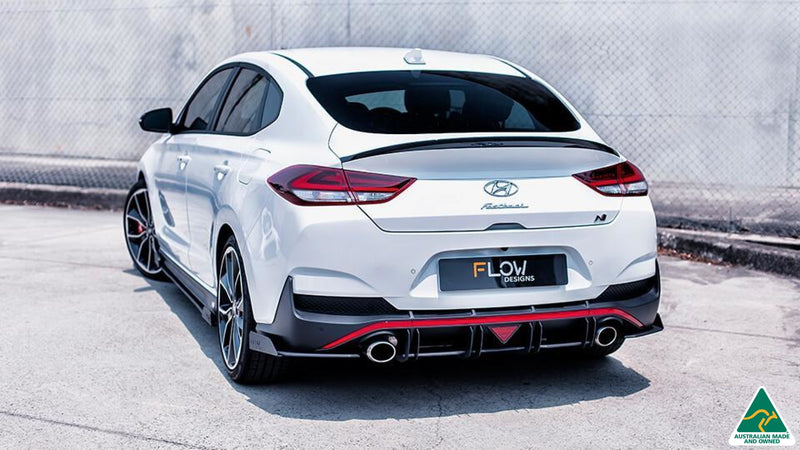 White Hyundai i30N Fastback Rear Spats/Pods Winglets