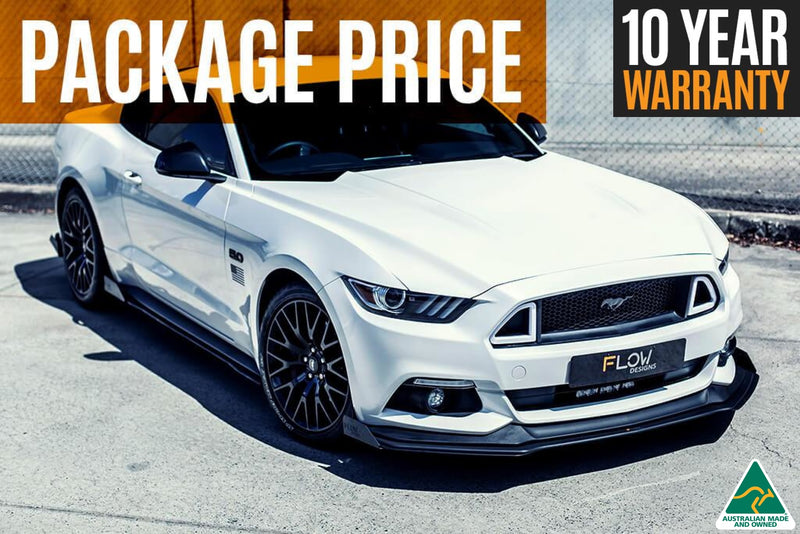 White Mustang S550 FM Front Lip/Side Splitters & Rear Diffuser