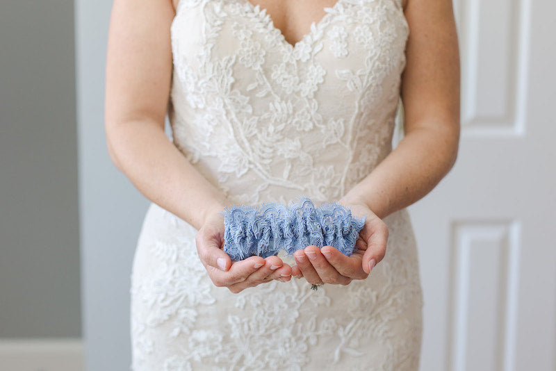 blue lace wedding garter heirloom