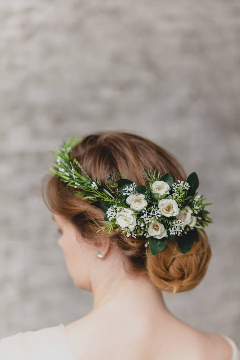 White Greenery Bridal Flower Crown