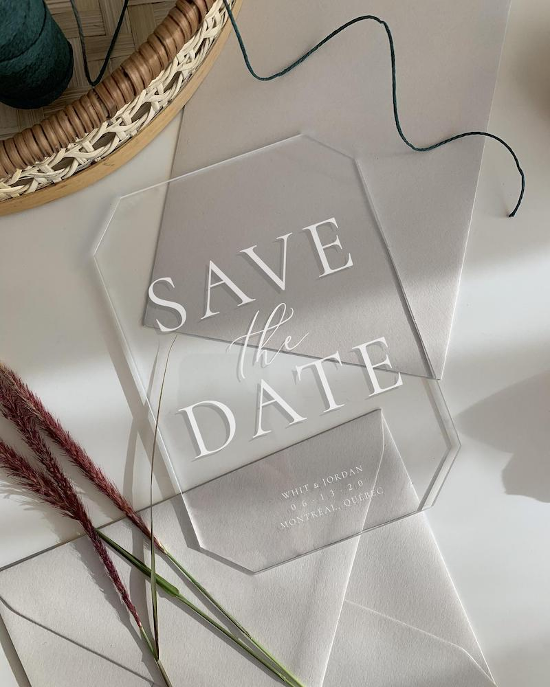 Acrylic Save the Date for Wedding
