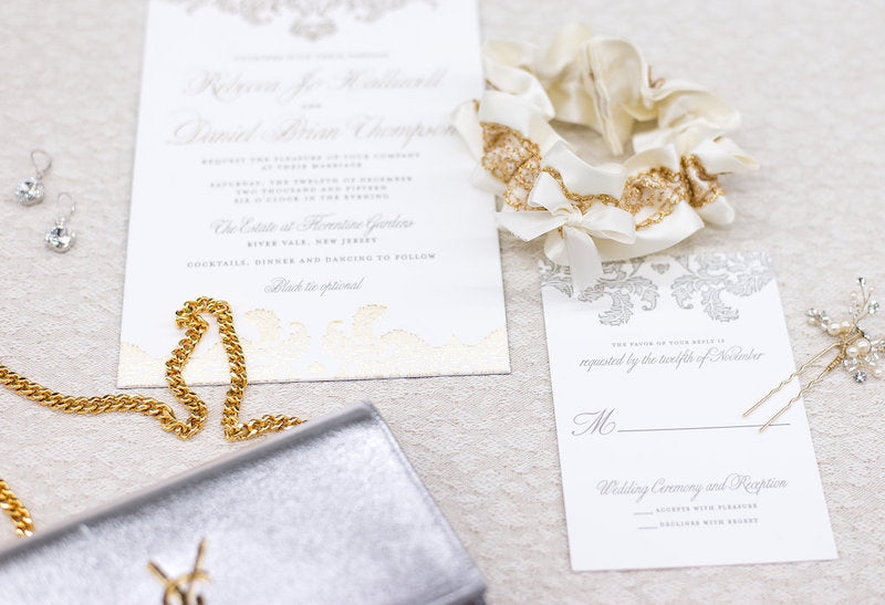 silver and gold wedding accessories