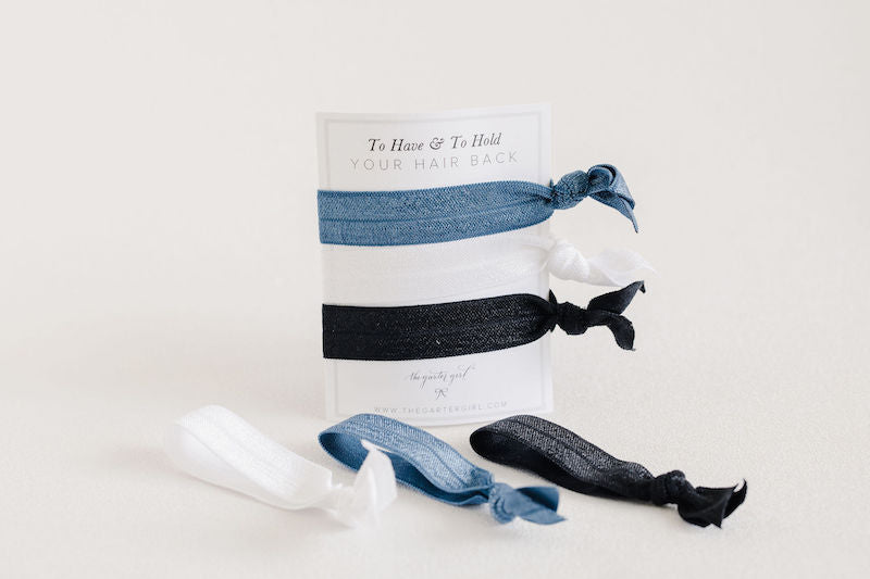 bridesmaid gift ideas - to have and to hold hair back elastic hair ties - handmade by The Garter Girl