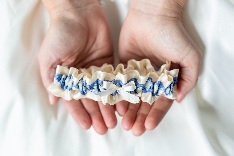 preppy wedding garter with argyle something blue