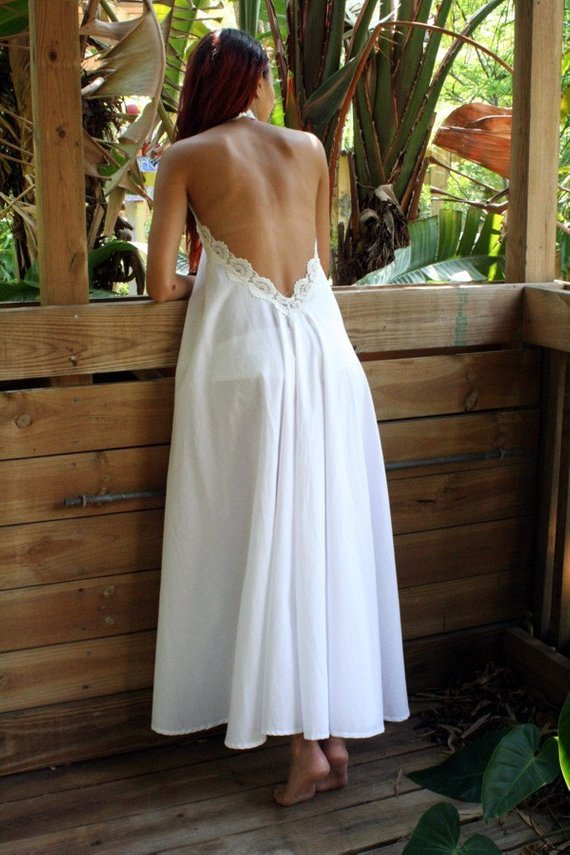 backless lace halter night gown