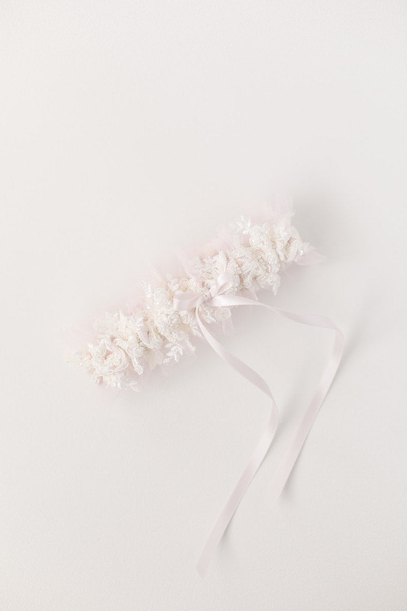 custom wedding garter ballet inspired with blush tulle and sparkle lace
