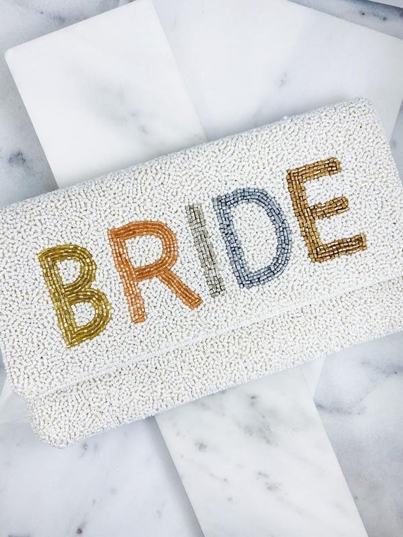 Beaded Bride Letters Clutch