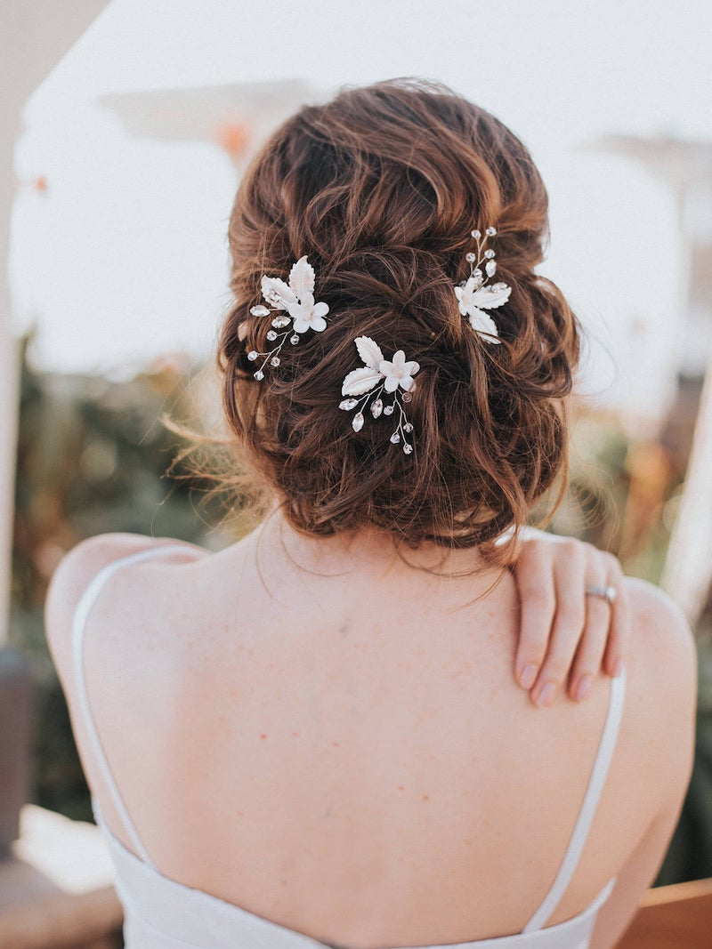 Beaded Flower Bridal Hair Pins