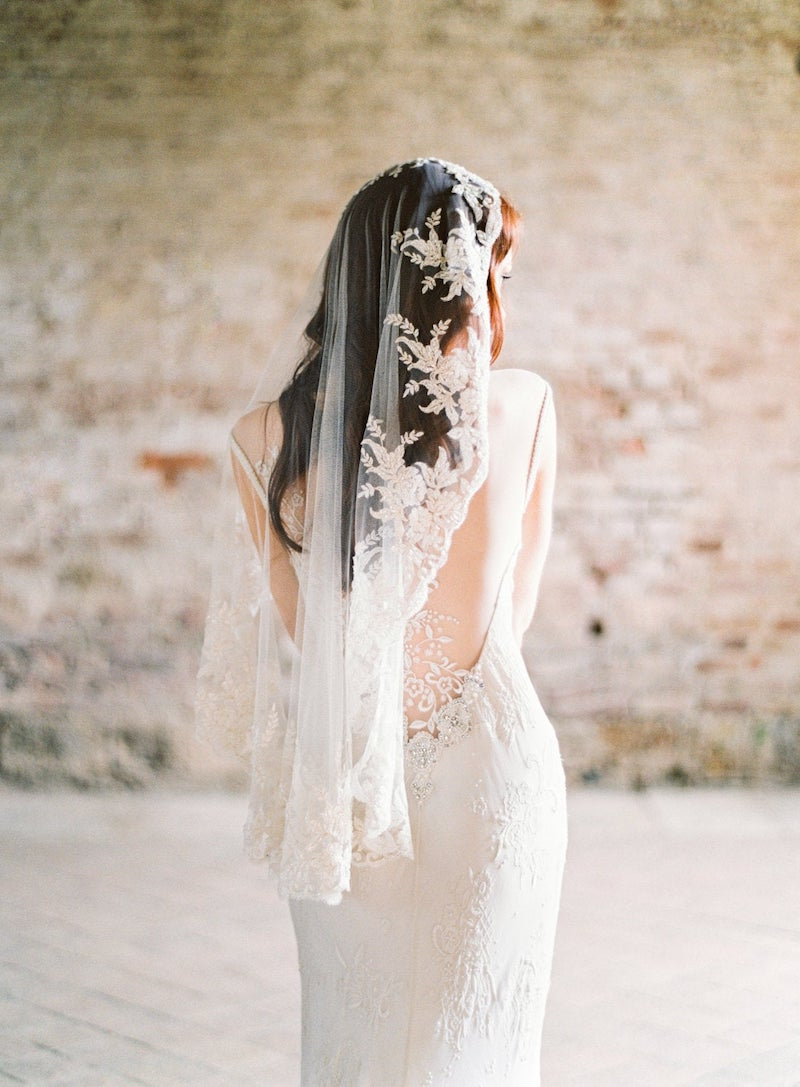 Beaded Mantilla Bridal Veil