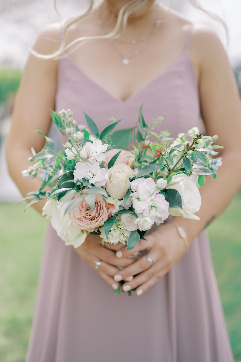 Beautiful Bridesmaid Bouquet with Dusty Rose and White Flowers