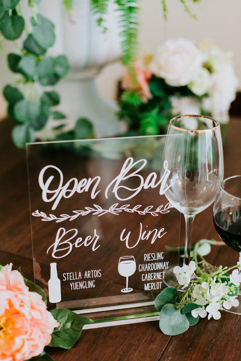 Beer and Wine Open Bar Sign for Wedding