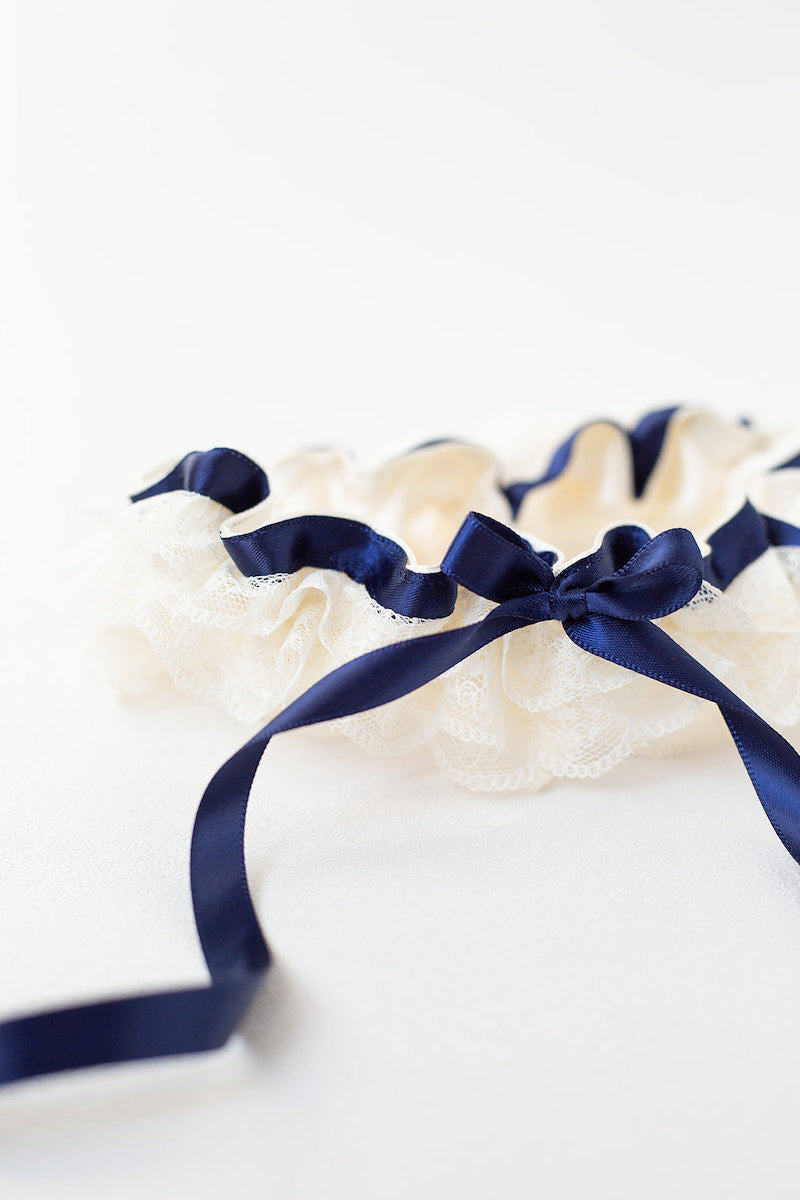 navy blue and ivory lace ruffle garter set
