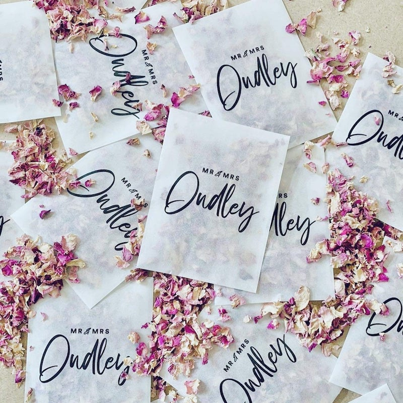 Biodegradable Personalized Confetti Packets Wedding Exit Toss