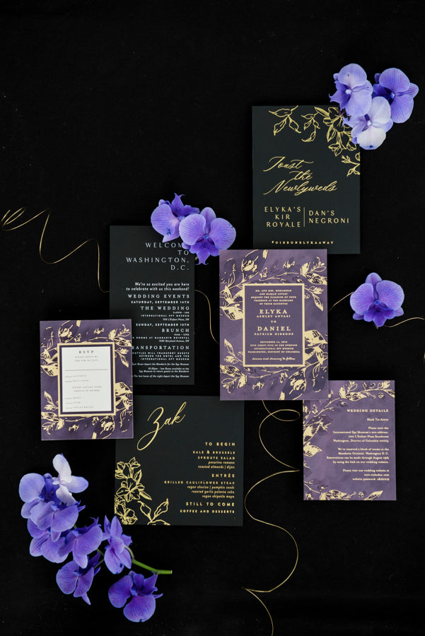 Black Purple and Gold Wedding Invitation Suite