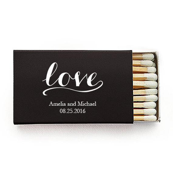 black love matchbox wedding guest favor