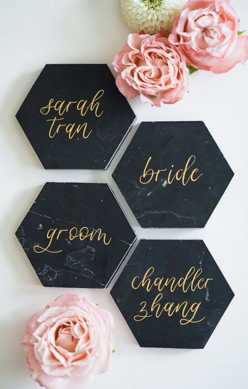 Black Marble Wedding Place Card
