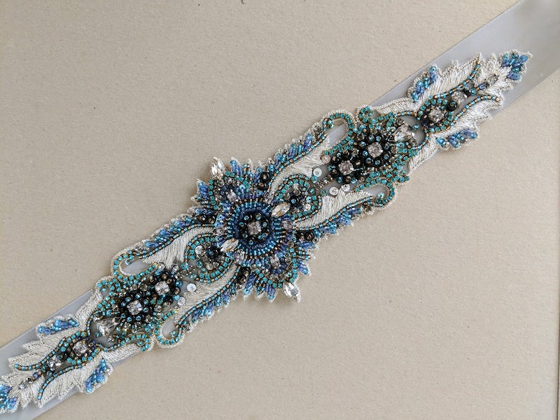 Blue Art Deco Embroidered Bridal Sash