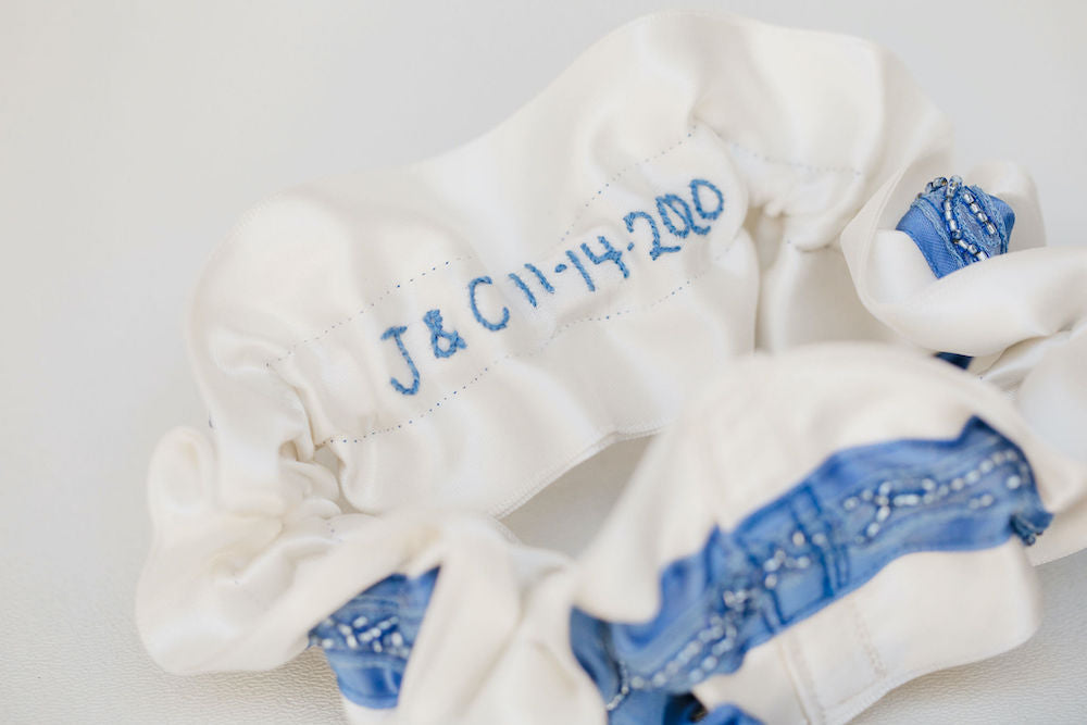 something blue beaded wedding garter set with personalized hand embroidery heirloom by The Garter Girl