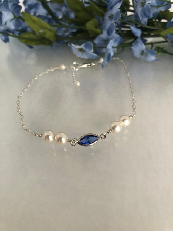 blue crystal and pearl bridal bracelet