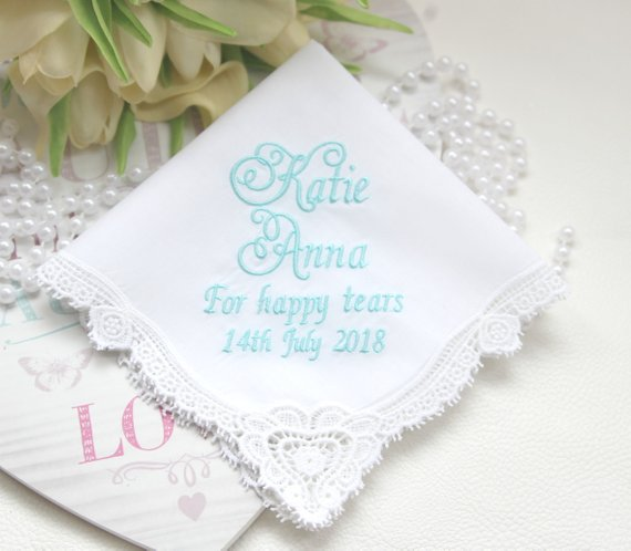 blue personalized lace wedding bridal handkerchief