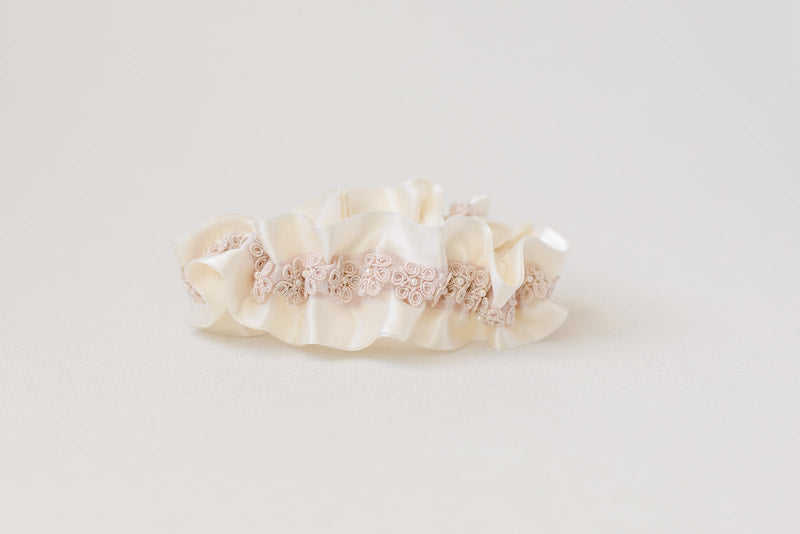 custom garter with blush floral lace with pearls