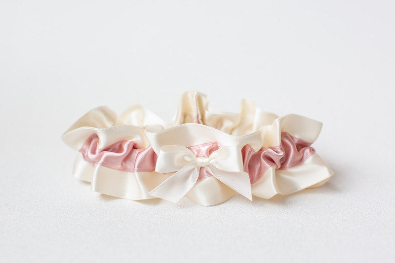 blush pink and ivory satin custom wedding garter