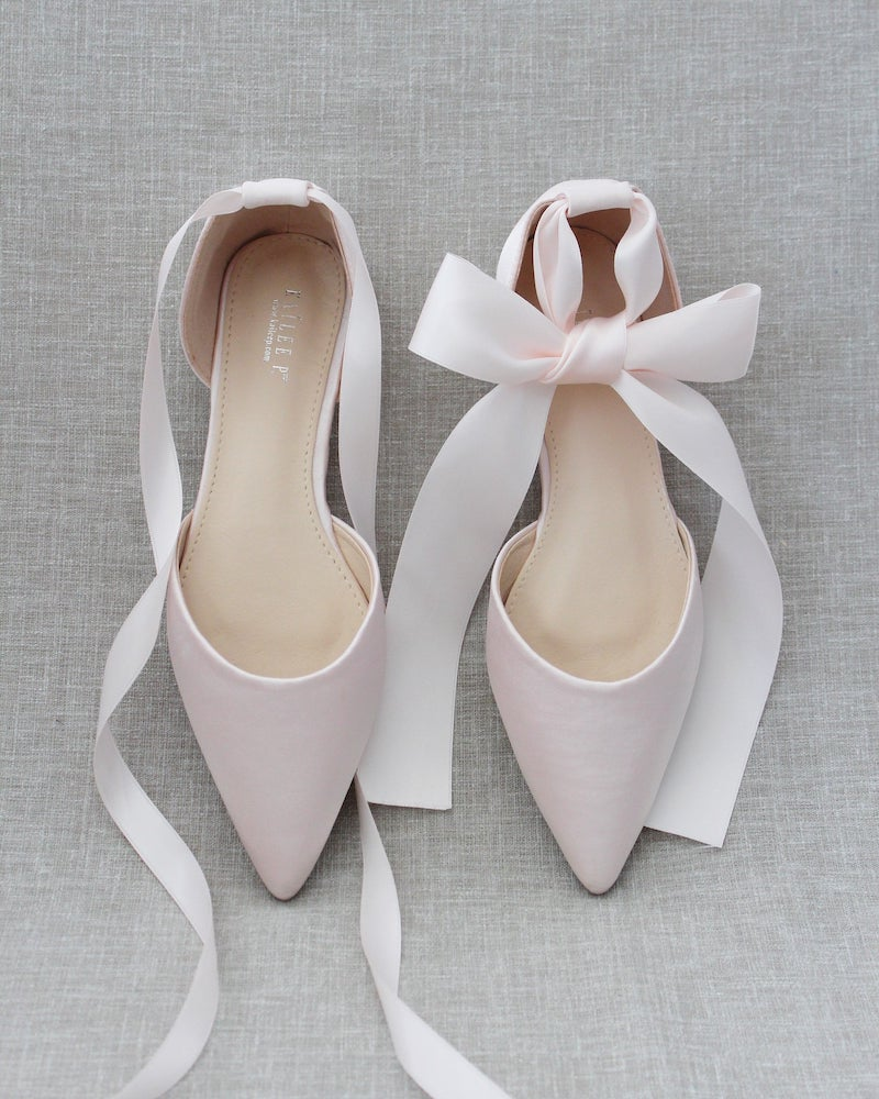 Blush Satin Pointy Toe Flat Bridal Shoes