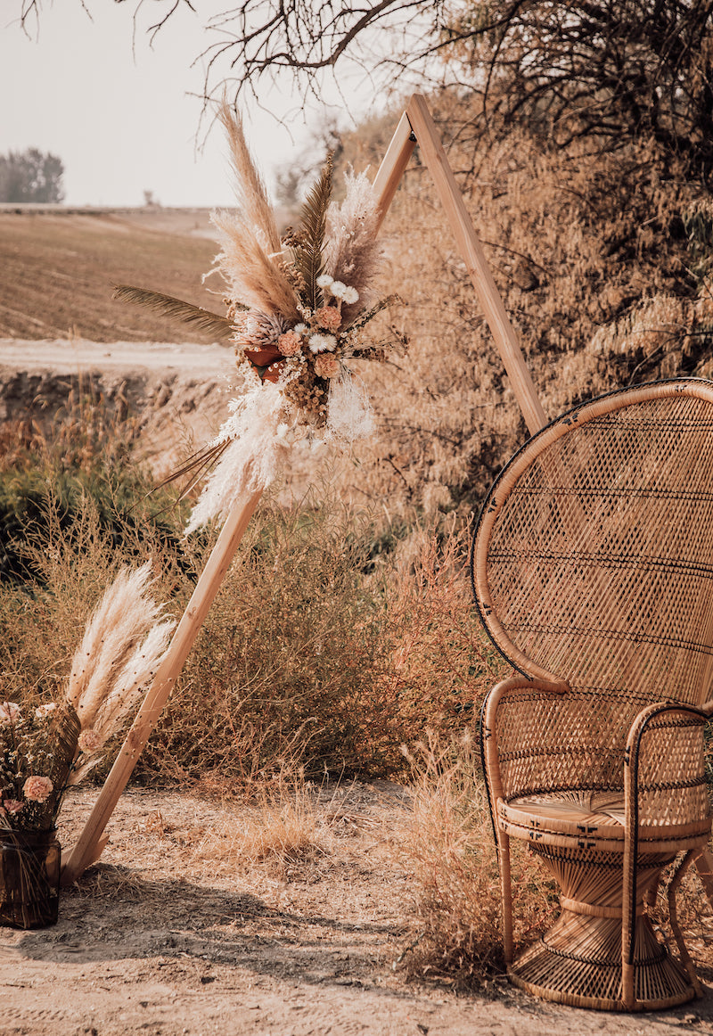 Bohemian Wedding Arch and Rattan Chair