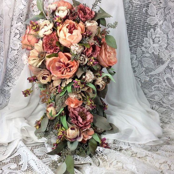 boho living coral wedding flower bouquet