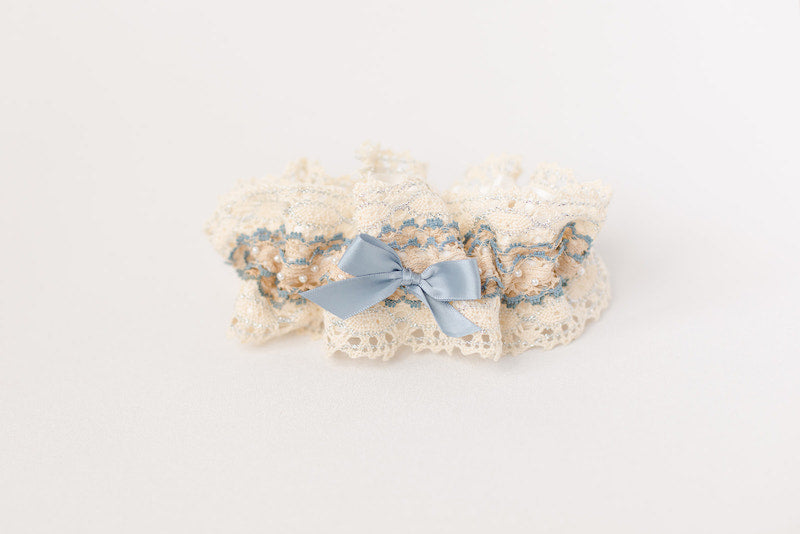 bohemian cotton lace wedding garter with pearls