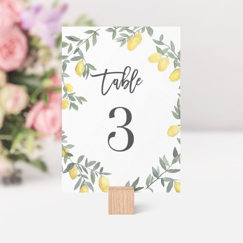 Boho Lemon Citrus Wedding Table Number Sign