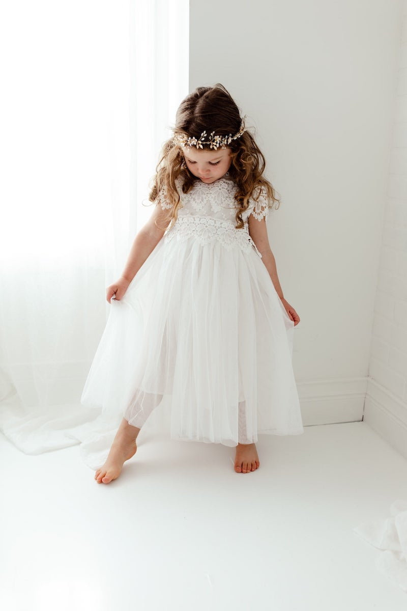 Boho Rustic Tulle and Lace Flower Girl Dress