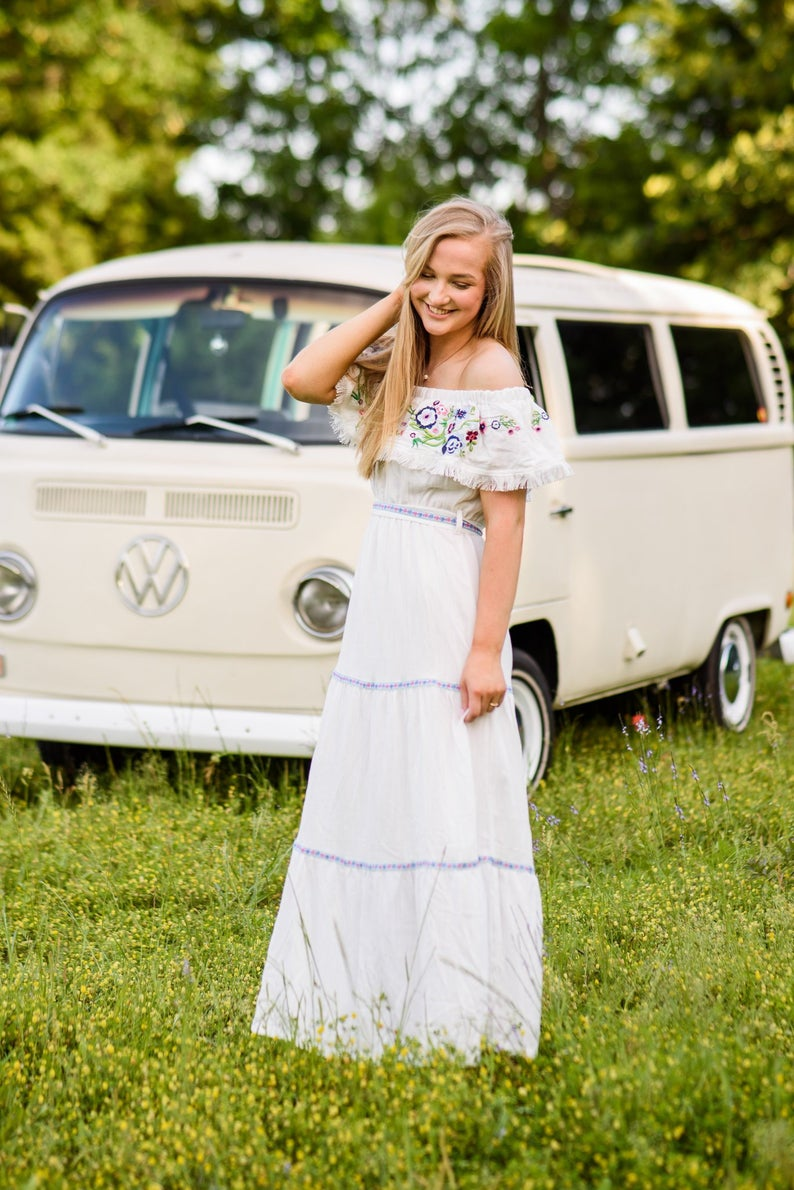 boho white off the shoulder maxi floral dress