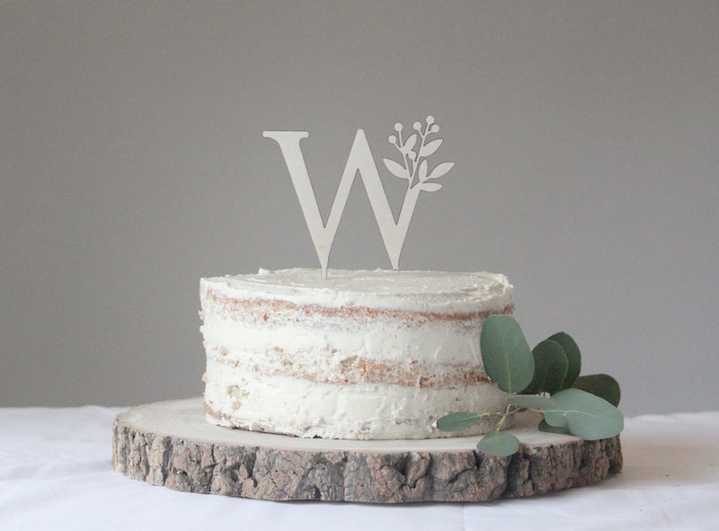 Botanical Monogram Cake Topper