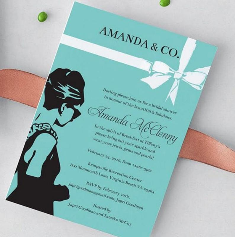 Breakfast at Tiffany's themed bridal shower invitation