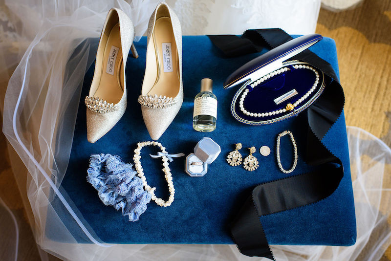 Bridal Accessories with Blue Garter