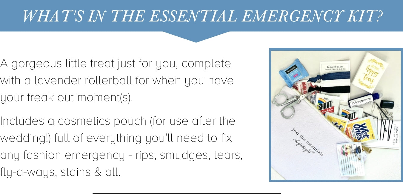 bridal fashion emergency kit for wedding day from the garter girl